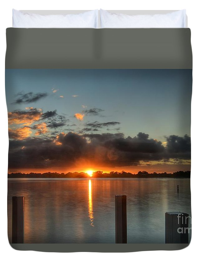 Sunset Duvet Cover featuring the photograph Dark Clouds Horizontal by Glenn Forman