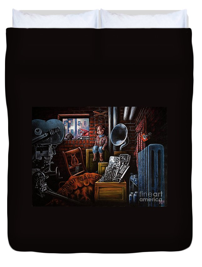 Howdy Doody Duvet Cover featuring the painting Dark Exile by Michael Frank