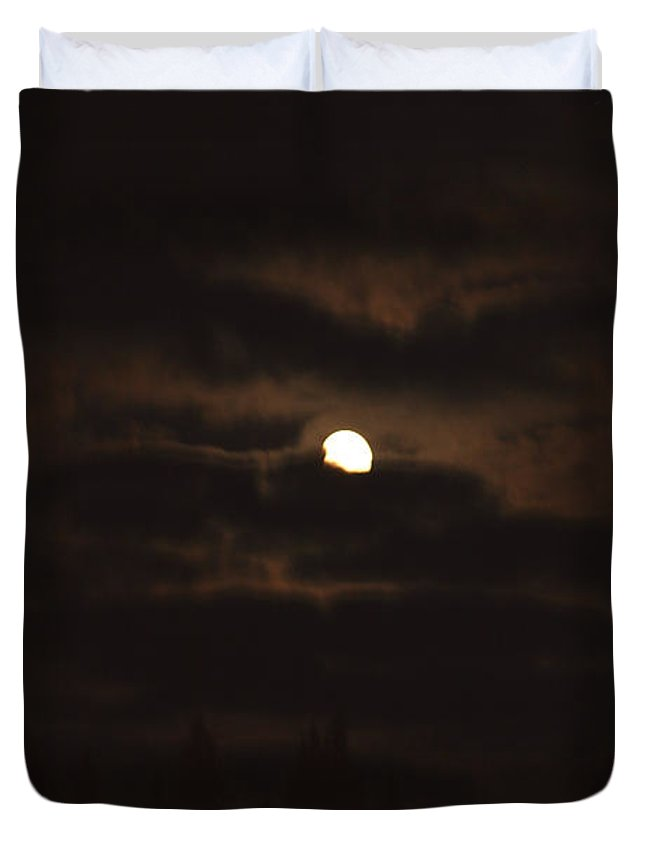 Moon Clouds Night Evening Light Cloudy Sky Trees Moonlight Moonlit Duvet Cover featuring the photograph Dark Night by Andrea Lawrence