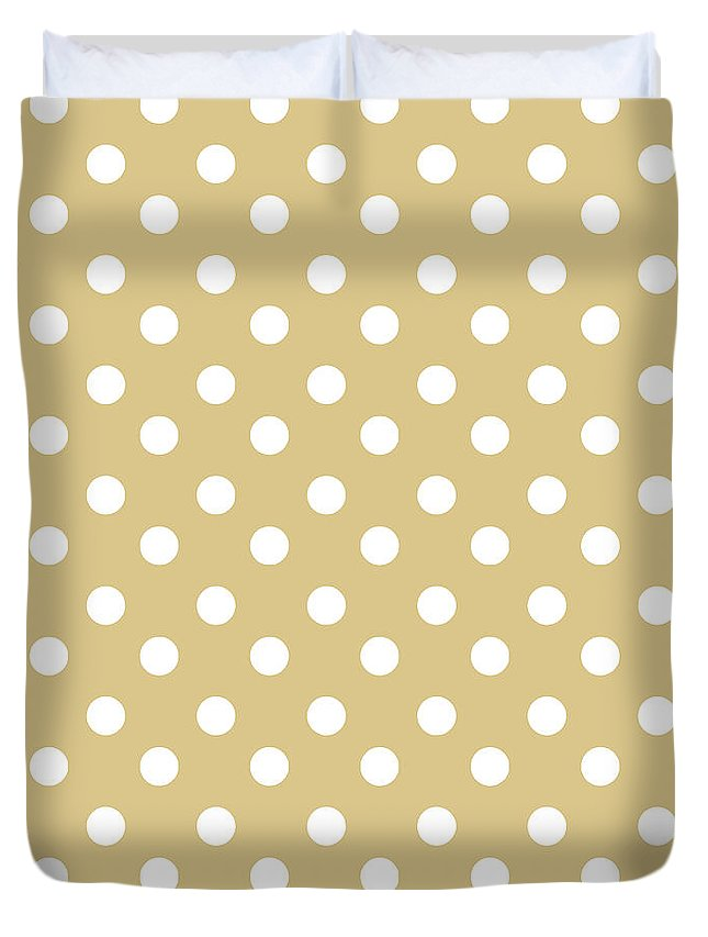 Polka Dots Gifts Duvet Cover featuring the tapestry - textile Dark Olive Polka Dots by Bimbys Collections