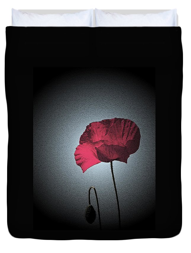 Poppy Duvet Cover featuring the photograph Dark Remembrance by Bel Menpes