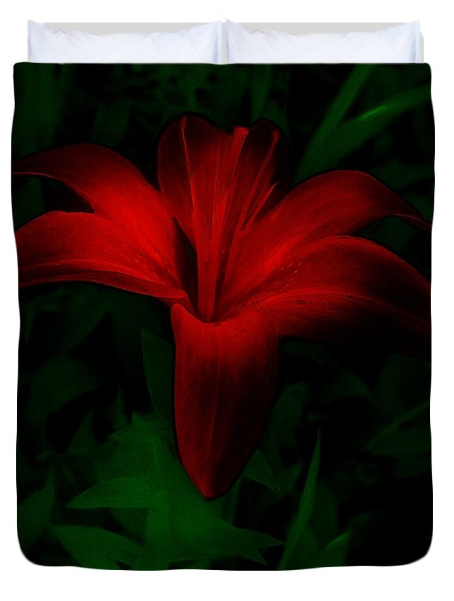 Lily Duvet Cover featuring the painting Dark Star by RC deWinter
