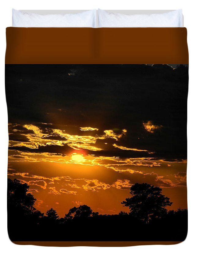 Sunset Duvet Cover featuring the photograph Dark Sun by Mark Blauhoefer