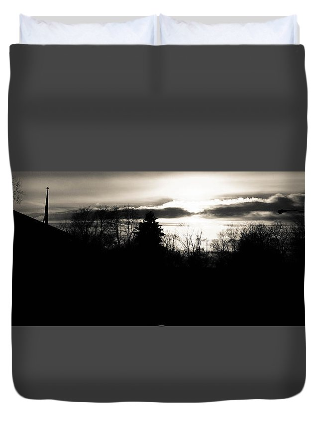 Clouds Duvet Cover featuring the photograph Dark Sunset by Otis Thaxton