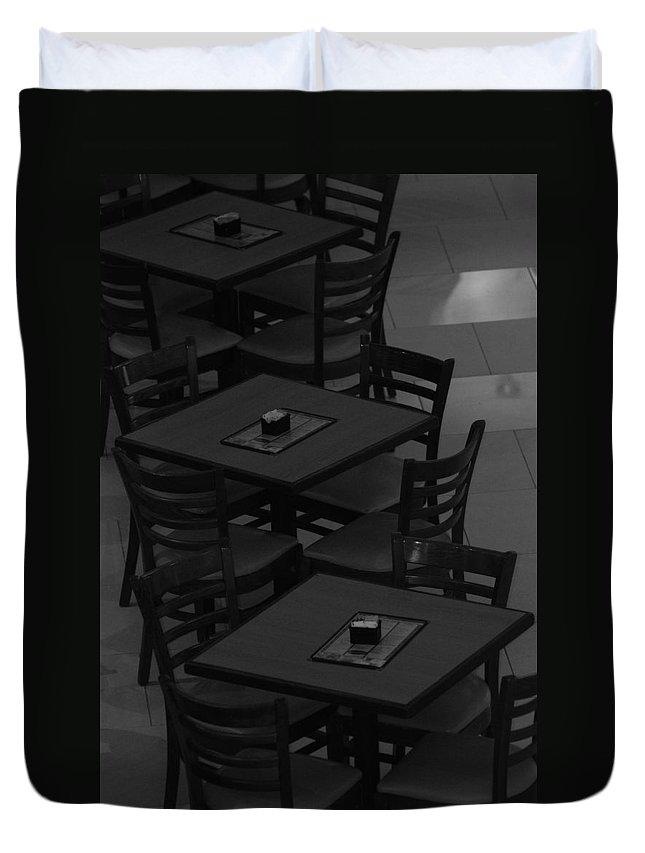 Tables Duvet Cover featuring the photograph Dark Tables by Rob Hans