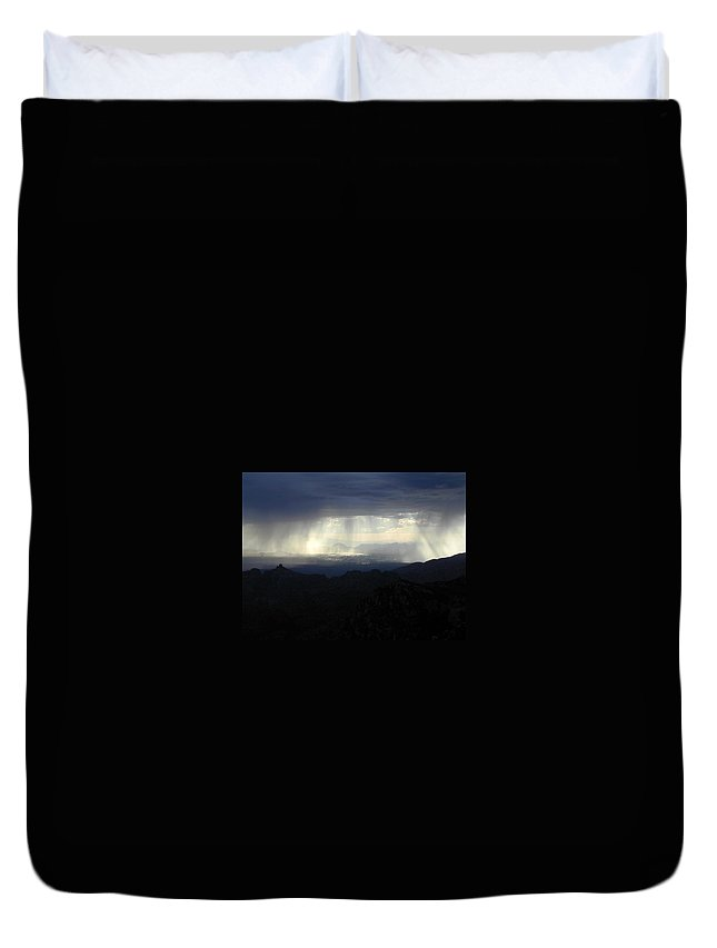 Darkness Duvet Cover featuring the photograph Darkness Over The City by Douglas Barnett