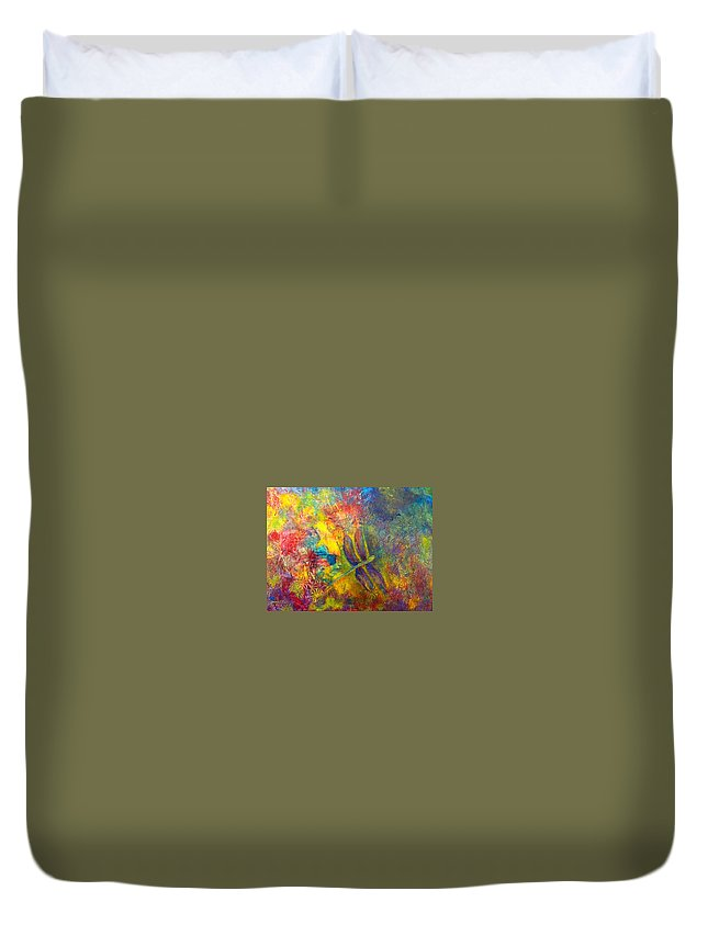 Dragonfly Duvet Cover featuring the painting Darling Dragonfly by Claire Bull