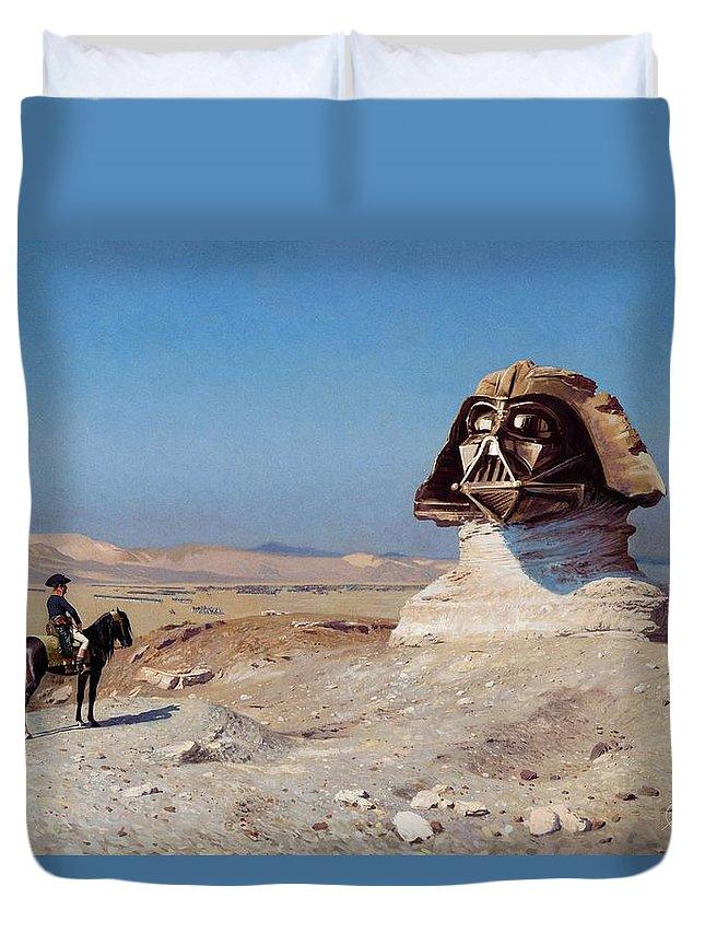 Scifi Duvet Cover featuring the digital art Darth Sphinx 2 by Andrea Gatti