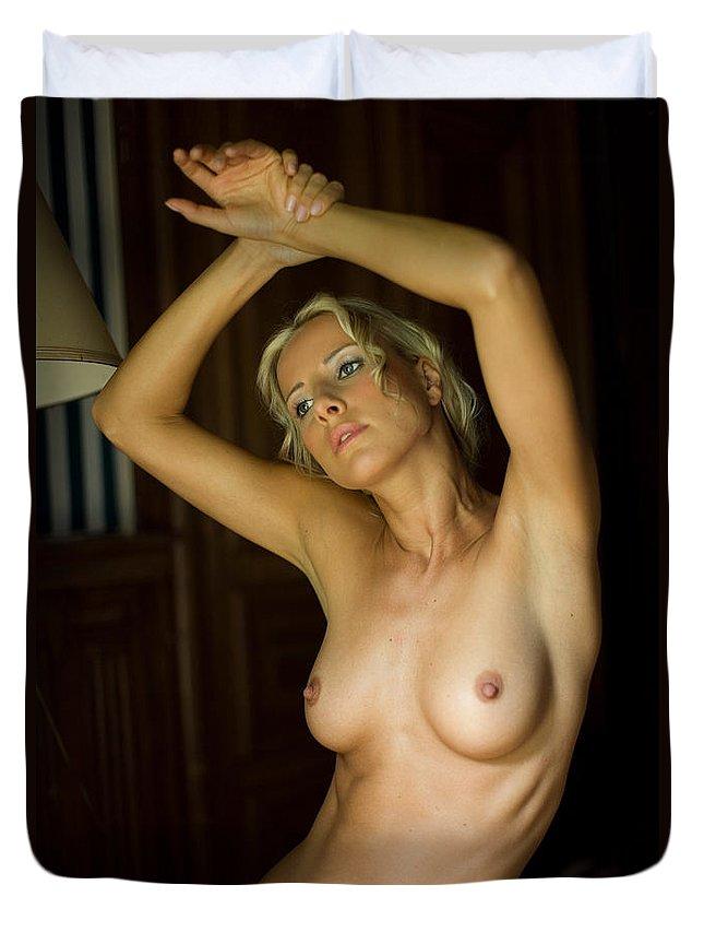 Sensual Duvet Cover featuring the photograph Dasha by Olivier De Rycke