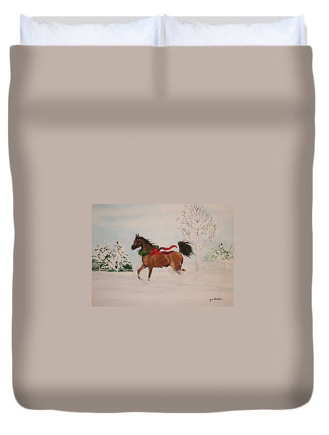 Horse Duvet Cover featuring the painting Dashing Thru The Snow by Jean Blackmer