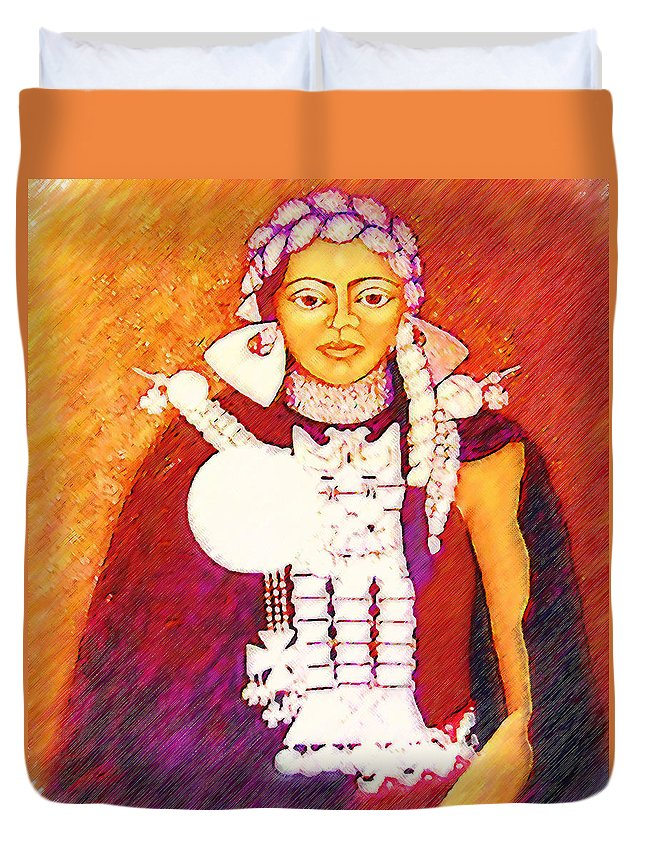 Portrait Duvet Cover featuring the painting Daughter Of The Bright Sun - Kushe by Madalena Lobao-Tello