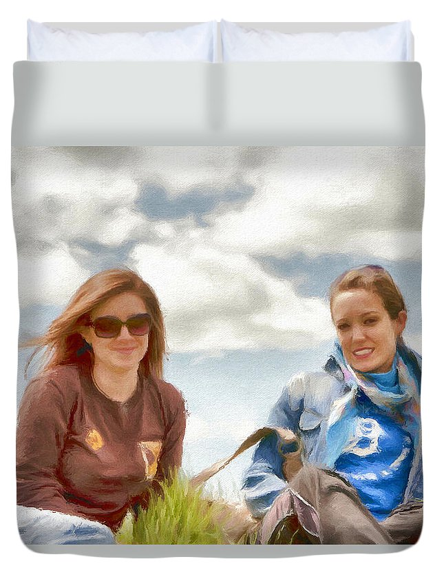 Canadian Duvet Cover featuring the painting Daughters by Jeffrey Kolker