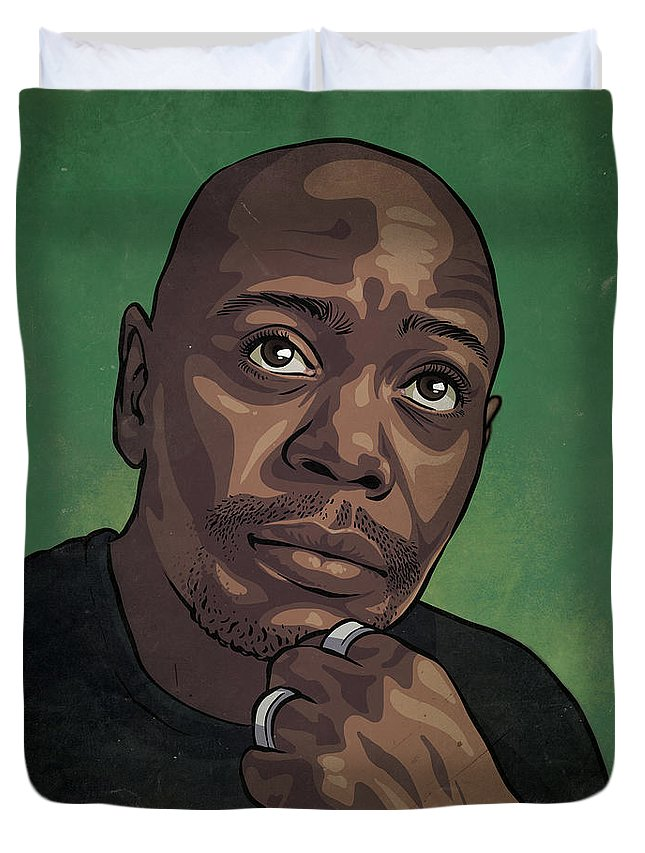 Dave Chappelle Duvet Cover featuring the drawing Dave Chappelle by Miggs The Artist