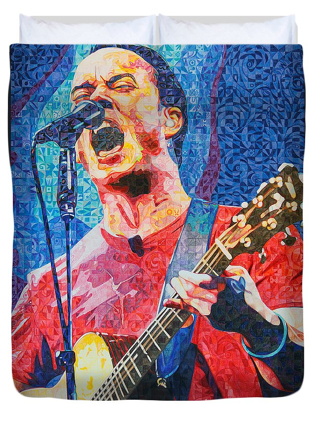 Dave Matthews Duvet Cover featuring the drawing Dave Matthews Squared by Joshua Morton