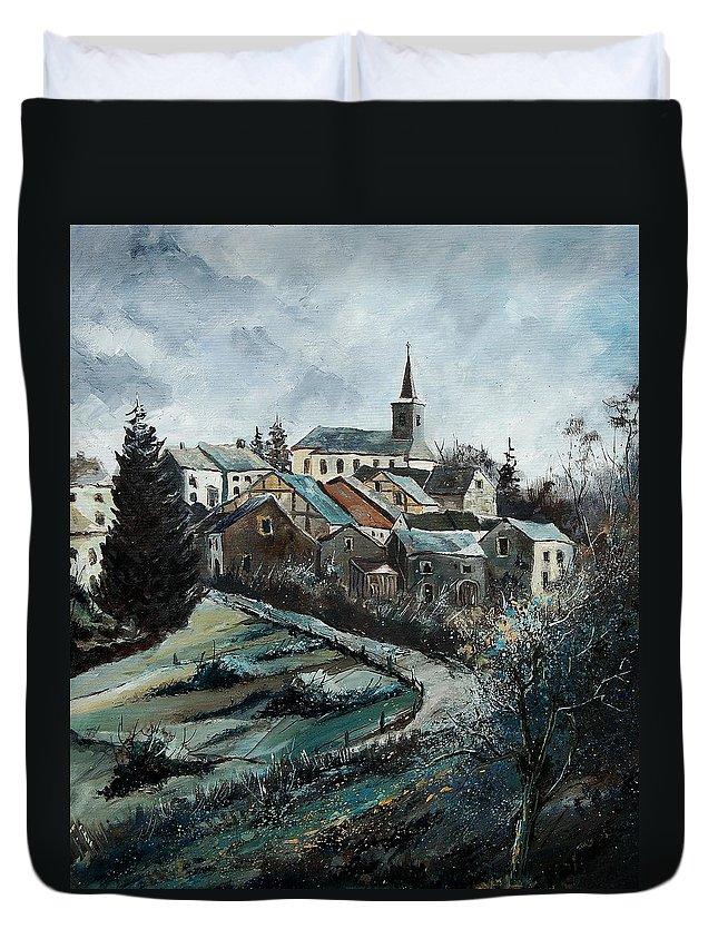 Village Duvet Cover featuring the painting Daverdisse 78 by Pol Ledent