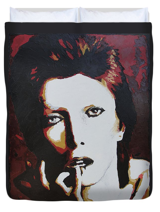 David Bowie Duvet Cover featuring the painting David Bowie by Ricklene Wren