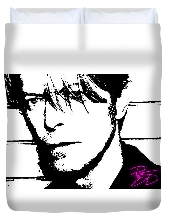 David Bowie Duvet Cover featuring the digital art David Bowie by Sergio Verrecchia