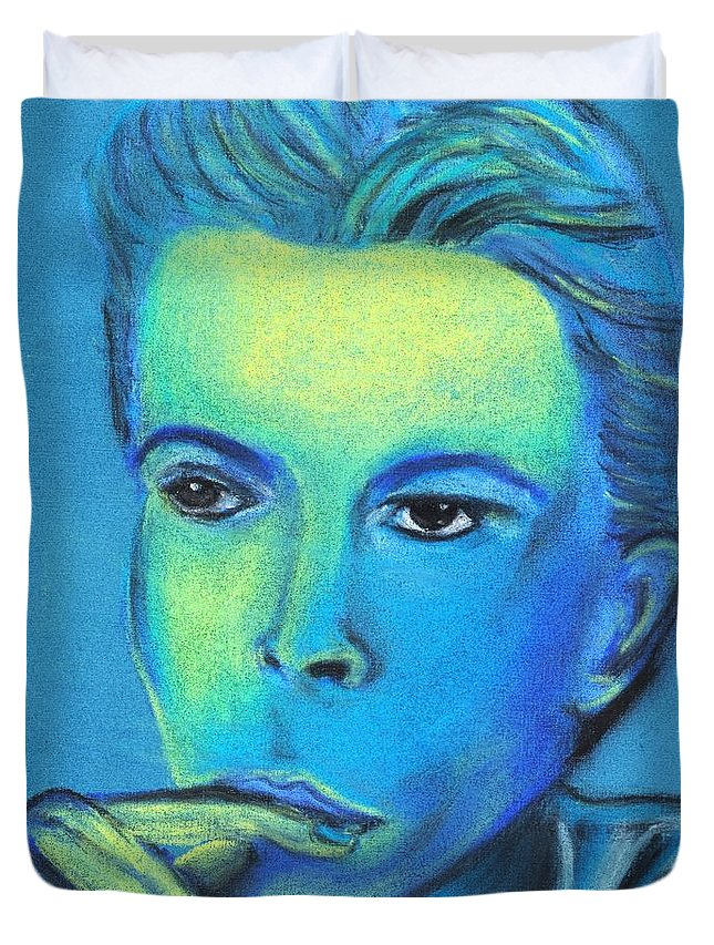 Famous Duvet Cover featuring the pastel David Bowie by Shawn Brandon