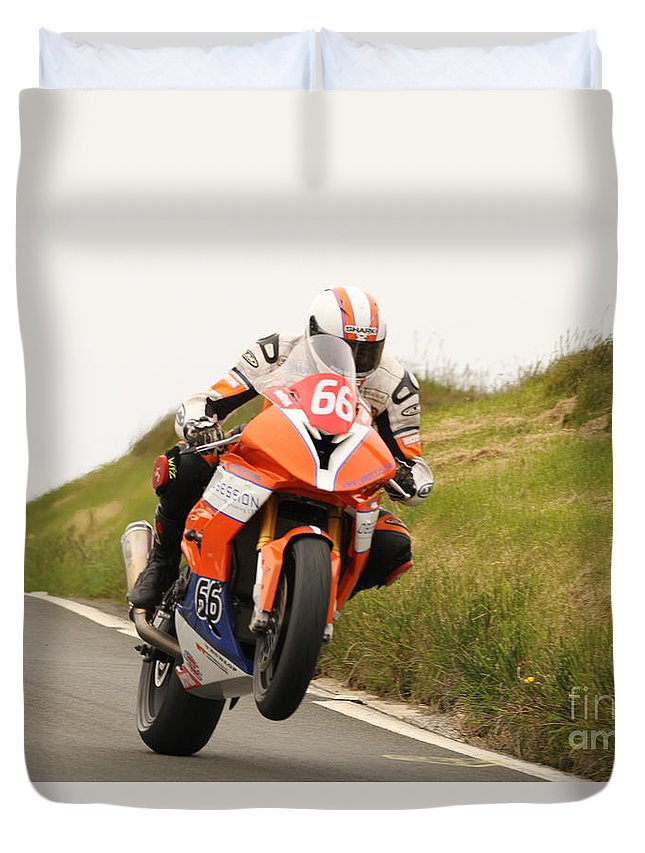 Motorbike Racing Duvet Cover featuring the photograph David Hewson by Richard Norton Church