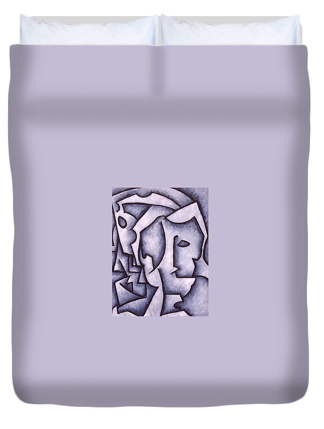 Abstract Duvet Cover featuring the painting David by Thomas Valentine