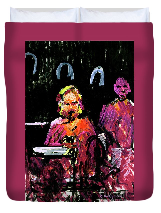 David Wingo On Stage Duvet Cover featuring the painting David Wingo On Stage by Candace Lovely