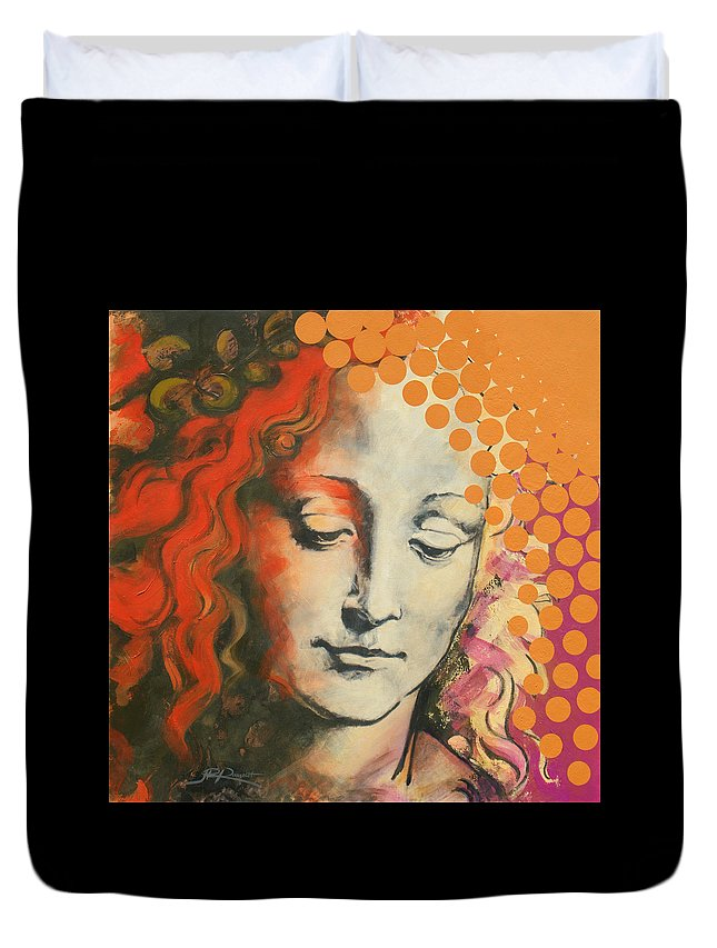 Figurative Duvet Cover featuring the painting Davinci's Head by Jean Pierre Rousselet