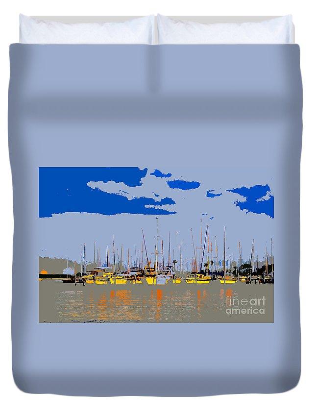 Davis Island Florida Duvet Cover featuring the painting Davis Island Yachts by David Lee Thompson