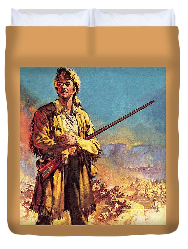 Davy Crockett Duvet Cover featuring the painting Davy Crockett Hero Of The Alamo by James Edwin McConnell