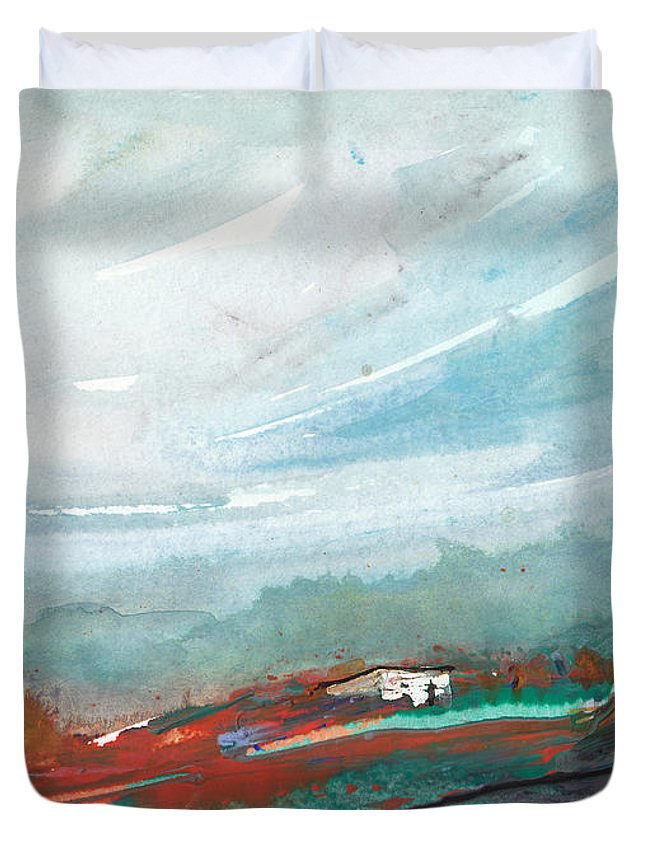 Landscapes Duvet Cover featuring the painting Dawn 17 by Miki De Goodaboom
