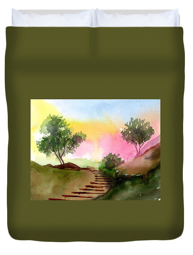 Landscape Duvet Cover featuring the painting Dawn by Anil Nene