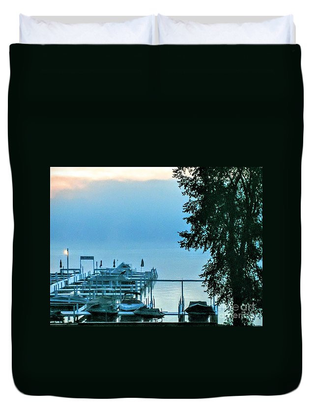 Dawn Duvet Cover featuring the photograph Dawn At Bay Colony by Jane Butera Borgardt