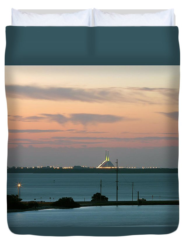 Sunshine Duvet Cover featuring the photograph Dawn At The Sunshine Skyway Bridge Viewed From Tierra Verde Florida by Mal Bray