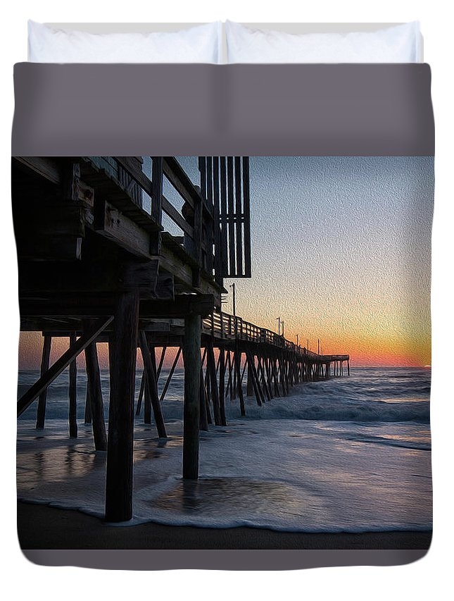Obx Duvet Cover featuring the photograph Dawn Begins by Art Cole