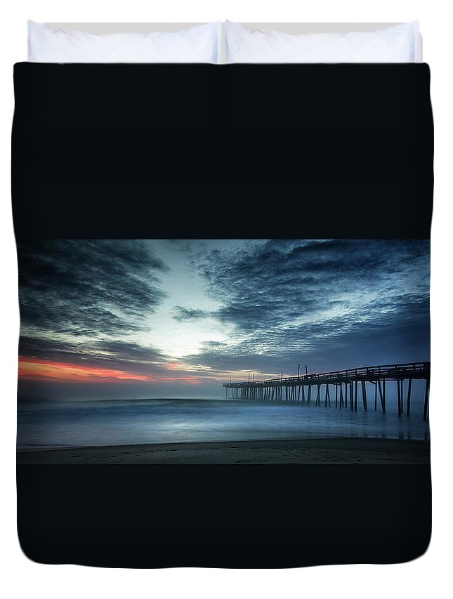 Sunrise Duvet Cover featuring the photograph Dawn Breaking Through by Art Cole