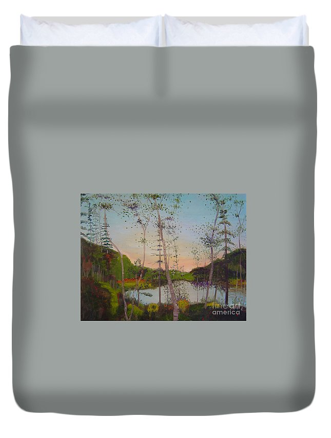 Landscape Duvet Cover featuring the painting Dawn By The Pond by Lilibeth Andre