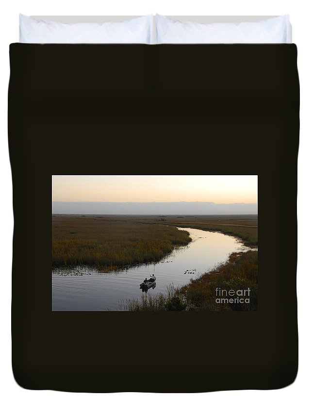 Fishing Duvet Cover featuring the photograph Dawn Everglades Florida by David Lee Thompson