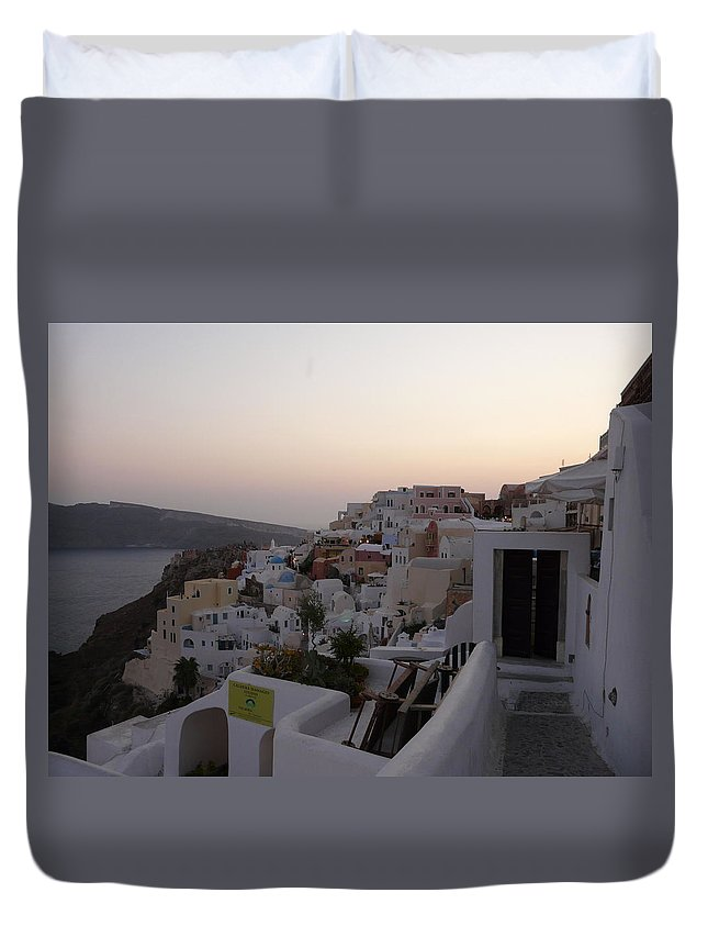 Landscape Duvet Cover featuring the photograph Dawn In Oia Santorini Greece by Valerie Ornstein