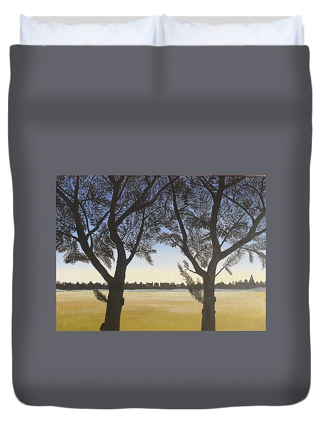 Landscape Field Morning Liverpool Duvet Cover featuring the painting Dawn Mist by Alan Horne