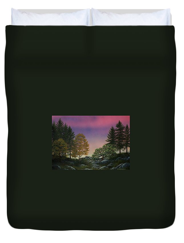 Mountains Duvet Cover featuring the painting Dawn Of Day by Frank Wilson