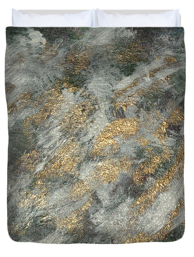 Abstract. Acrylic Paintings Duvet Cover featuring the painting Dawn Of The Bronze Age by John Krakora