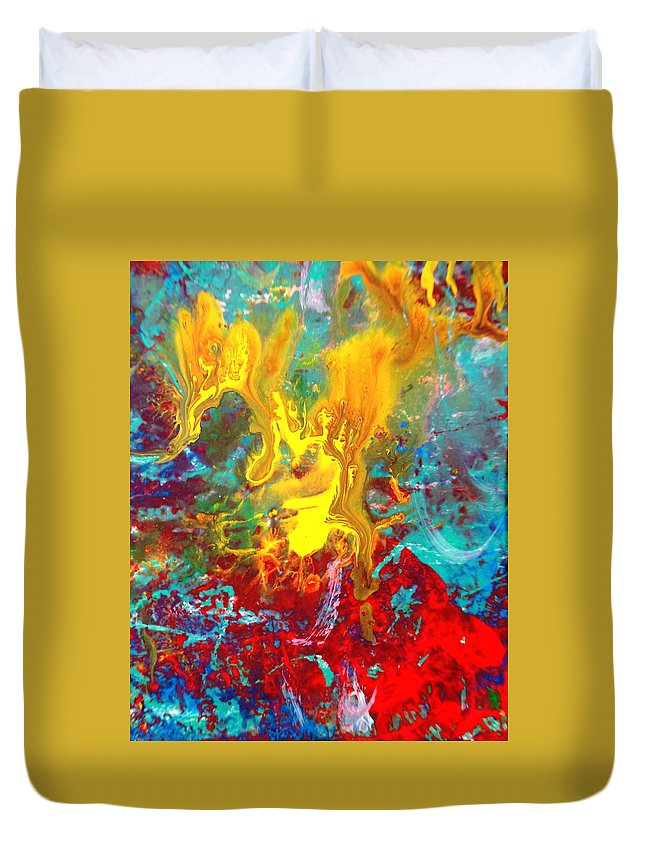 Abstract Duvet Cover featuring the painting Dawn Of The Universe by Natalie Holland