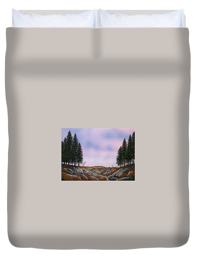 Landscape Duvet Cover featuring the painting Dawn Pacific Crest Trail by Frank Wilson