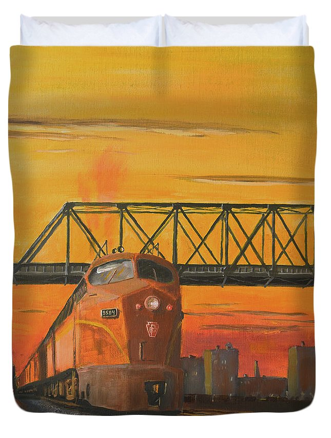 Train Duvet Cover featuring the painting Dawn Patrol by Christopher Jenkins