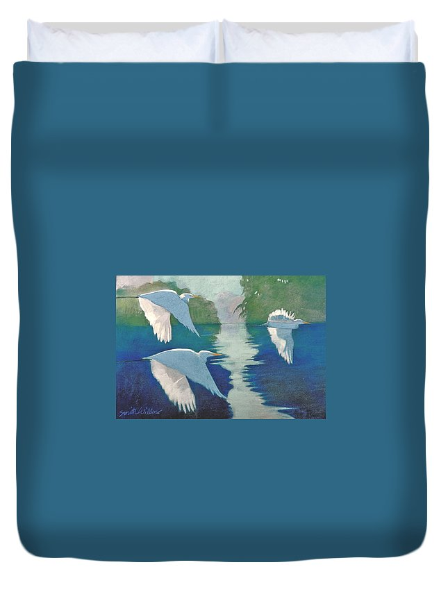 Birds Duvet Cover featuring the painting Dawn Patrol by Neal Smith-Willow