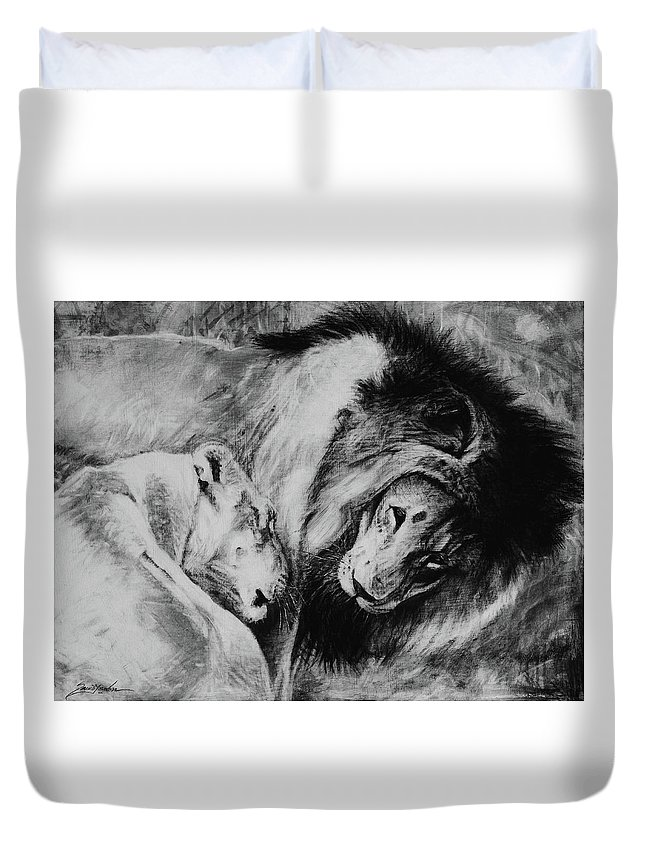 Creature Duvet Cover featuring the drawing Dawn's A Coming Open Your Eyes - Lions by Susie Gordon