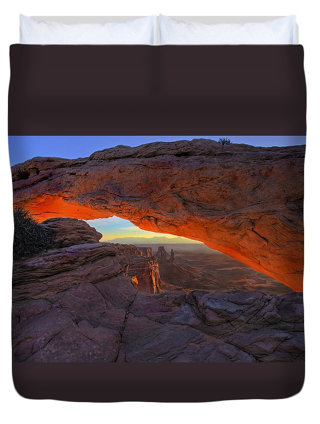 Mesa Arch Duvet Cover featuring the photograph Dawns Early Light by Mike Dawson