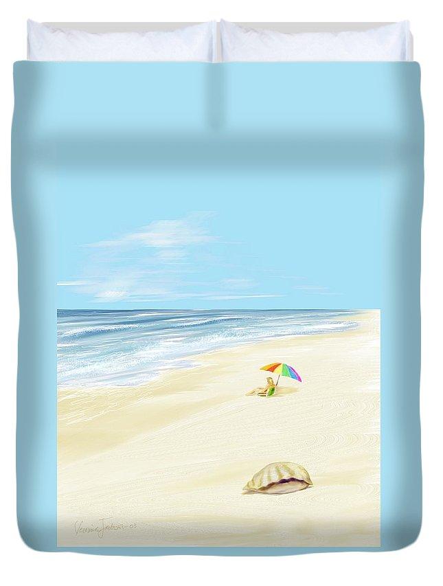 Beach Summer Sun Sand Waves Shells Duvet Cover featuring the digital art Day At The Beach by Veronica Jackson