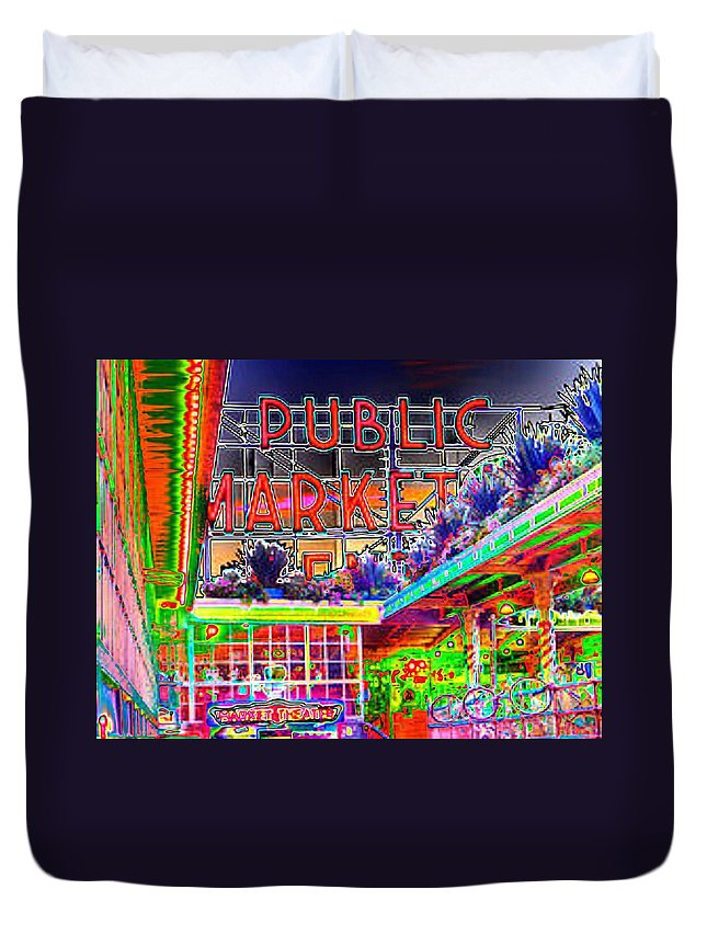 Seattle Duvet Cover featuring the photograph Day At The Market by Tim Allen