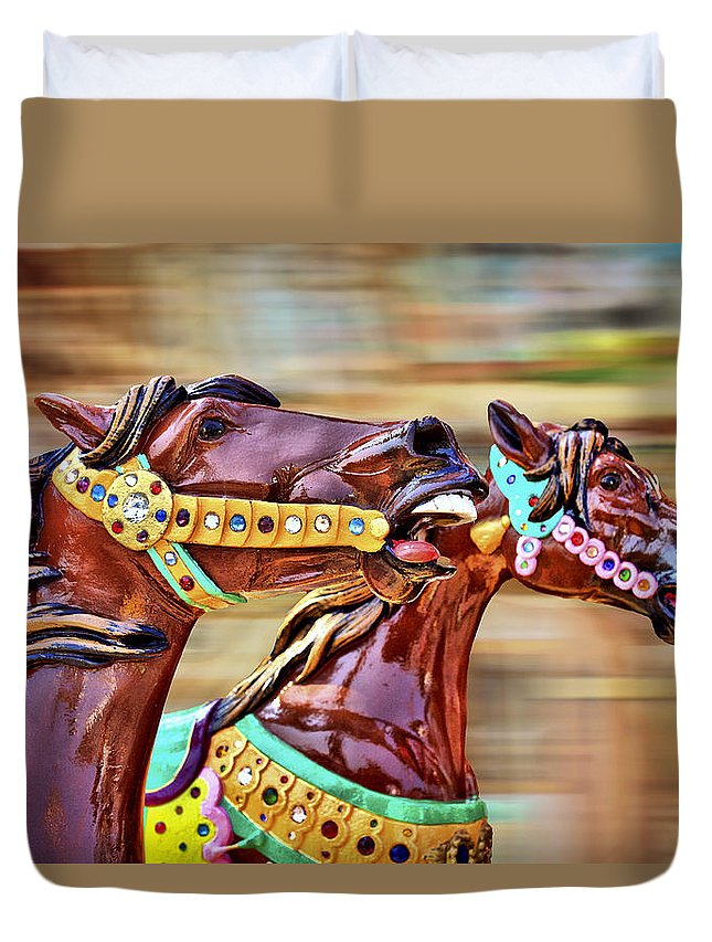Horse Duvet Cover featuring the photograph Day At The Races by Evelina Kremsdorf
