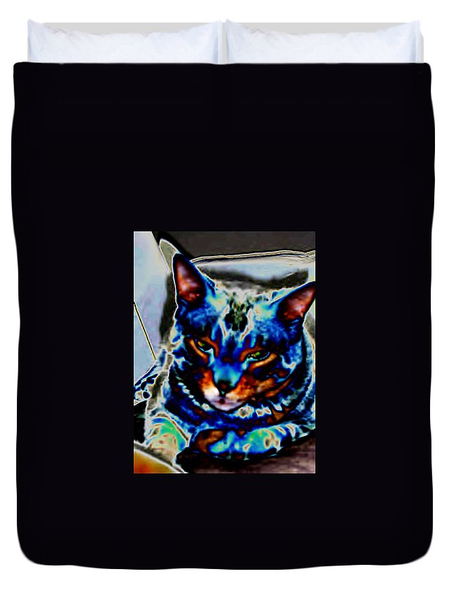 Cat Duvet Cover featuring the photograph Day Dreamer by Dawn Johansen